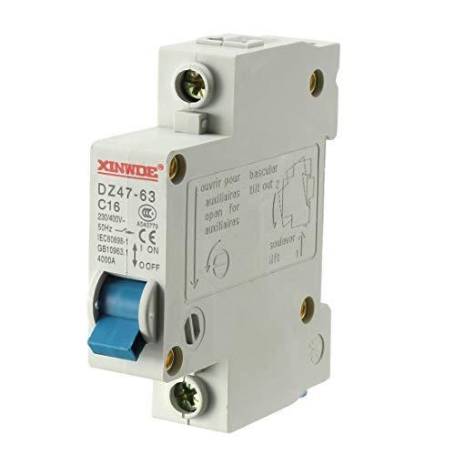uxcell 1 Pole 16A 230/400V Low-voltage Miniature Circuit Breaker Din Rail Mount DZ47-63 C16 (Rail Din Breaker)