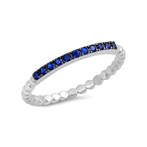 2mm Half Eternity Wedding Band Ring Round Simulated Blue Sapphire 925 Sterling Silver (Eternity Half Band Sapphire)