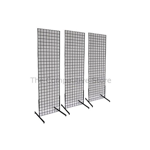 2' x 6' Grid Wall Panel Floorstanding Display Fixture with Deluxe T-Style Base, Black. Three-Pack Combo. ()
