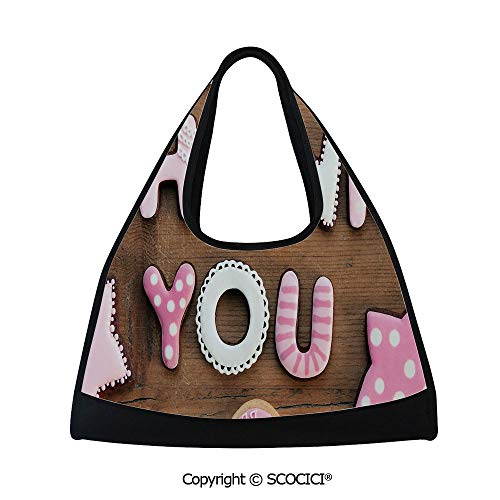 Fitness bag,Romantic Sweet Cookie Letters Sugar Candy on Rustic Wood Table Image,Bag for Women and Men(18.5x6.7x20 in) Pink White Brown]()