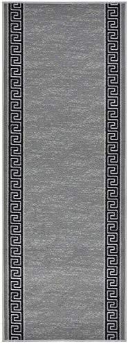 RugStylesOnline Custom Runner Meander Roll Runner 36 Inch Wide x Your Length Size Choice Slip Skid Resistant Rubber Back 7 Color Options (Grey, 9 ft x 36 in)