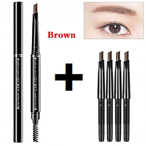 Meifen fashion durable waterproof automatic rotating eyebrow pencil, 1 + 4 replaceable refills, 5 colors optiona (Brown)