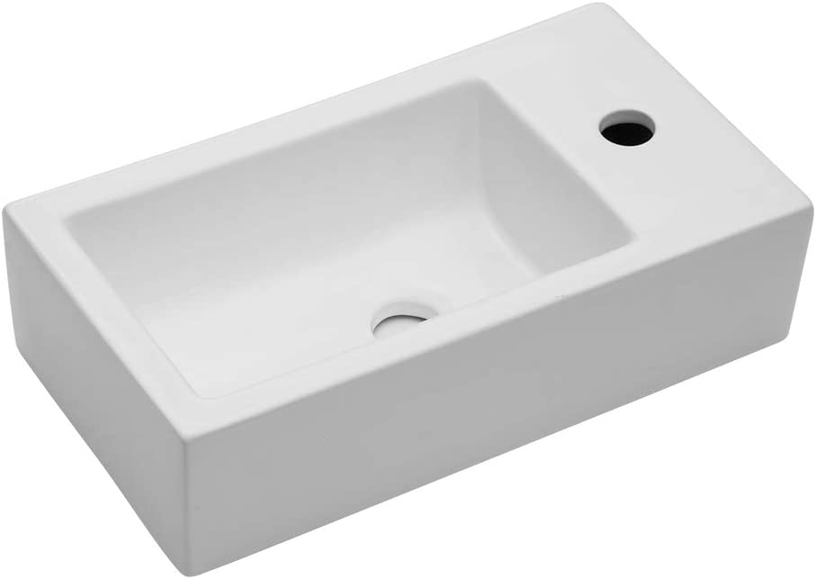Lordear Rectangle Wall Mount Bathroom Sink With Single Faucet Hole And Overflow Hole Corner Sink White Porcelain Ceramic Narrow Bathroom Vessel Sink Amazon Com