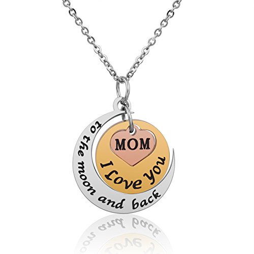 iJuqi Mom Gift Idea Pendant Necklace - Best Unique Wedding Gifts for Mothers Day Birthday Christmas from Daughter Son, Stainless Steel Mom Gifts Funny Fashion Jewelry Necklace 18'' (Moon and Back) -