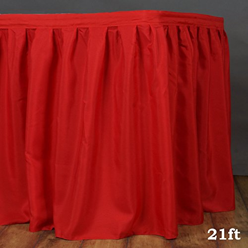 LinenTablecloth 21 ft. Accordion Pleat Polyester Table Skirt Red - 21' Table Skirt Polyester
