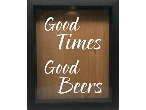 Wooden Shadow Box Wine Cork/Bottle Cap/Tickets 9x11 - Good Times Good Beers (Ebony w/White)