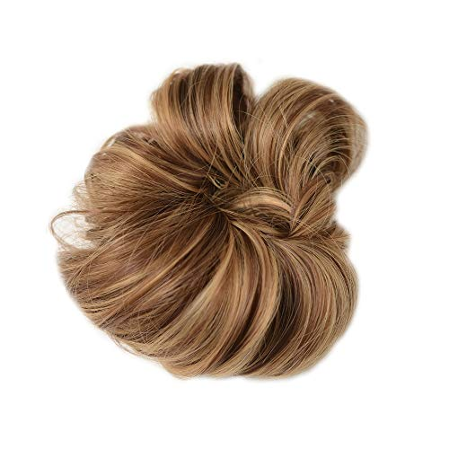 Madison Braids Women's Top Knot Ponytail Holder Hair Extension - Natural Looking Handmade Synthetic Hair - Highlighted