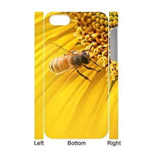 3D {Sunflower Series} For Apple Iphone 5C Case Cover Bee on Sunflower, Case- White