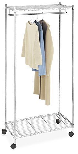 Whitmor Supreme Garment Rack - Double Shelf Rolling Clothes Organizer - Chrome