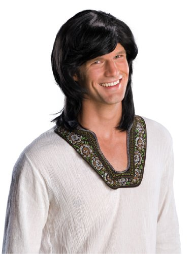 Wigs For Guys (Rubie's Costume 70's Guy Wig, Black, One Size)