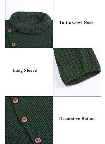 Asvivid Womens Button Turtle Cowl Neck Asymmetric Hem Wrap Pullover Sweater Tops