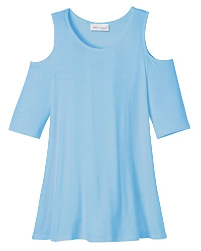Amie Finery Cold Shoulder Tops For Women Open Shoulder Tunic Tops For Leggings Made In USA Plus Size 1X Faded Denim - Usa From Shop
