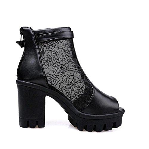TAOFFEN Sandales Toe Peep Chaussures Femmes Black 78qrwv7xt