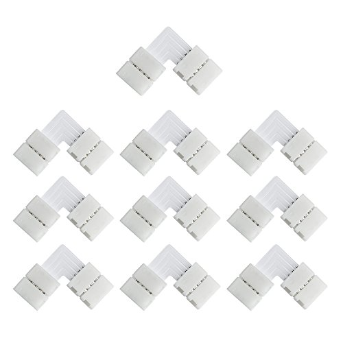LightingWill 10pcs/Pack L Shape Solderless Snap Down 4Conductor LED Strip Connector for Right Angle Corner or 90 Degree Turning Connection of 10mm Wide 5050 RGB Flex LED Strips ()