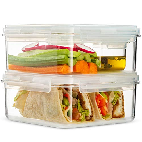 Komax HIKIPS Set-of-3 Lunch Box Containers | 42-oz Salad and Sandwich Lunch Containers | BPA-Free Plastic Lunch Containers | Sandwich Box and Food Storage Containers | Dishwasher & Microwave Safe
