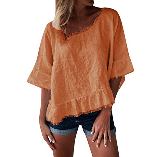 - QIQIU 2019 Solid Ruffle Hem Fashion Women's Round Neck Loose Short Sleeve Elegant Daily Blouses Tops Orange