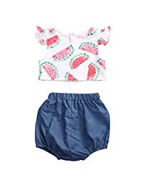 Baby Girls Clothes 2pcs Set Watermelon Print vest Top Puffy Short pants