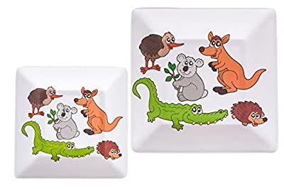 Slice of Australia Melamine Plates Set of 2 (1 x 8 inch and 1 x 10.5 inch)...Unique Australian Animals Design
