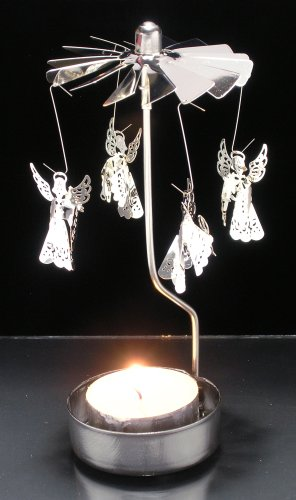 BANBERRY DESIGNS Spinning Angels Candle Holder Silver Scandinavian Design