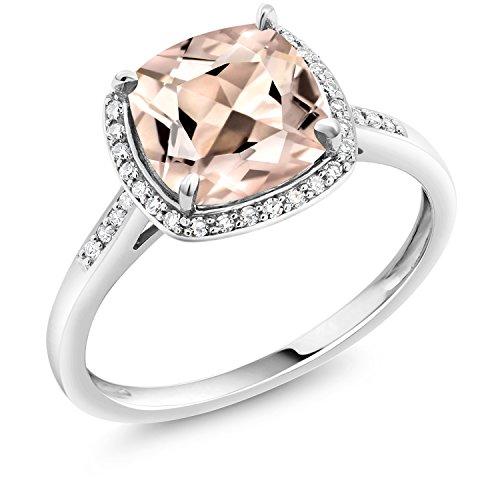 Gem Stone King 10K White Gold Ring 1.88 Ct Cushion Peach Morganite with Diamond Accent (Size 7) (Ring White Morganite Gold)