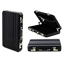 Lookatool Metal Mini Briefcase Suitcase Business Bank Card Name Card Holder Case Box (Black)