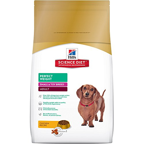Hill's Science Diet Adult Perfect Weight Dog Food, Small & Toy Breed Chicken Recipe Dry Dog Food for healthy weight and weight management, 15 lb Bag