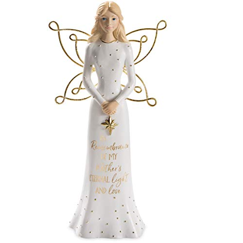 Angel Holding Star Figurine - Pavilion Gift Company in Memory of My Mother's Eternal Light and Love-7.5 Inch White & Gold Figurine 7.5