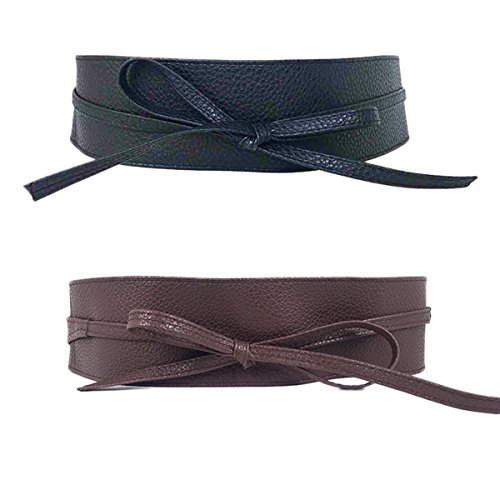 Womtop Womens Belts PU Leather Obi Waist Belt Adjustable Length Waist Strap Cummerbund for Dress