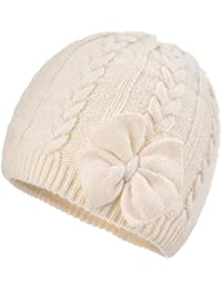 Aablexema Baby Girls Warm Beanie Cap - Infant Toddler Winter Knitted Bow Hat with Cotton Lining(White, S)