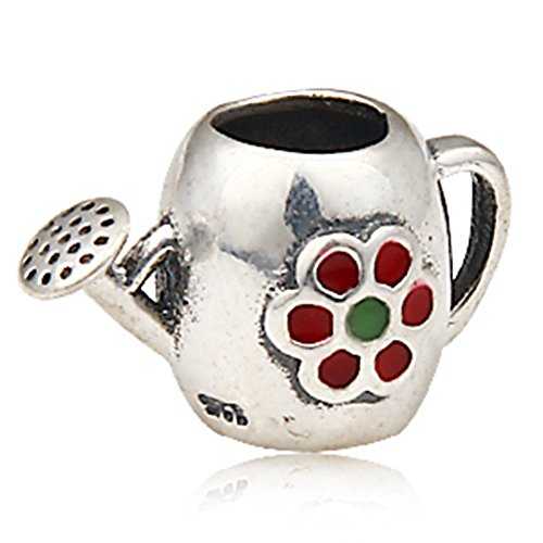 Luckybeads - Flowers Charm Fit DIY charm Bracelet 925 Silver Flower Blooming Watering Can Bead Charm DIY Jewelry