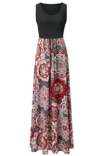 Zattcas Womens Summer Contrast Sleeveless Tank Top Floral Print Maxi Dress Black Multi X-Large