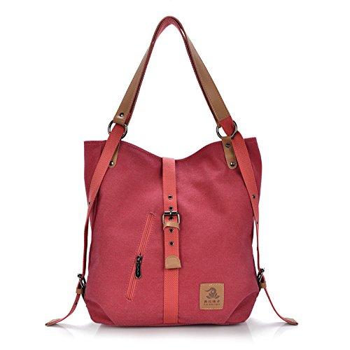 2017 New Fashion Female Handbag Lady Girls Casual Canvas Handbag Shoulder Bag Multifunctional Women Messenger BagFularuishi (red)