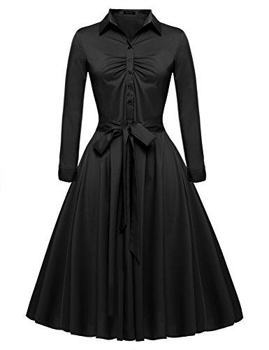 ACEVOG Women's Retro 1950s V Neck High Waist Swing Dress Black S ()