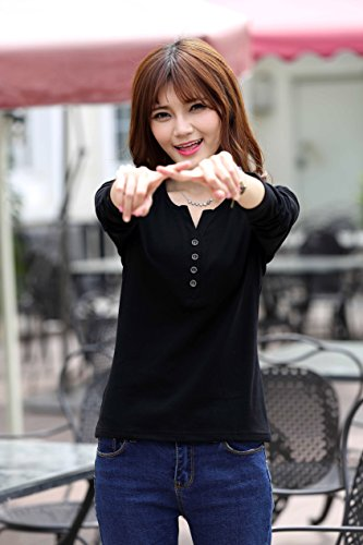 WSLCN - Camiseta de manga larga - Básico - Cuello redondo - Manga Larga - para mujer negro