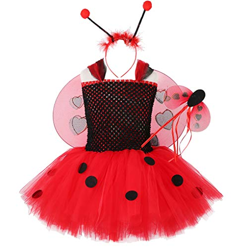 Ladybug Tutu Dress for Girls Halloween Birthday Party Outfit, Black Red Tulle Kids Ladybird Ladybug Costume with Wings Headband