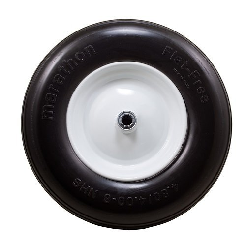 Marathon 4.80/4.00-8″ Flat Free Tire on Wheel, 3″ Hub, 3/4″ Bearings, Ribbed Tread For Sale