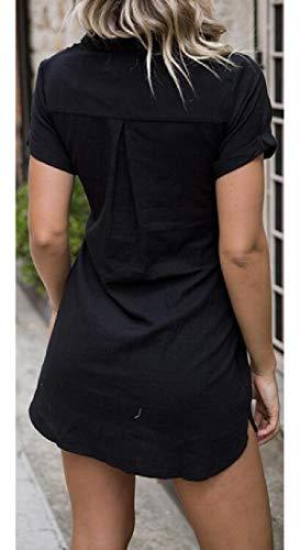 Bravepe Womens Bandage Short Sleeve Summer Lapel Mid Length Short Sleeve Beach Party Shirt Dress