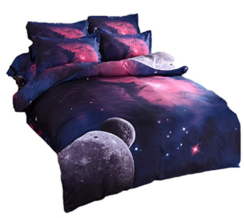 ZSWELL 3D Galaxy Bedding Sets 3pcs Mysterious Boundless Galaxy Sky Starry Night Bedding Sets Bedlinen Duvet/Quilt Cover Set (02) from ZSWELL