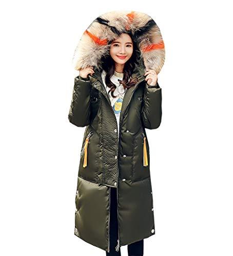 Size Fit Large Over Inverno Donna Premewish Lunga Verde Jacket Casual ginocchio Cotone Slim Giacca Piumino qwF4Uz