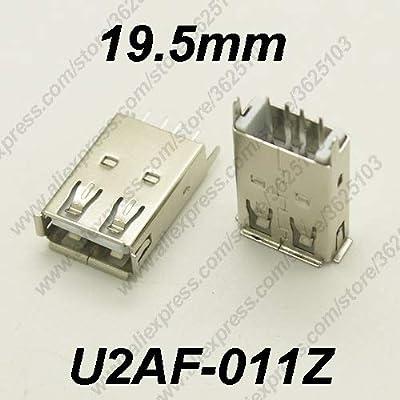 Gimax 10PCS U2AF-011Z/U2AF-011ZP USB 2.0 Connector H=19.5MM Straight Feet Charging Socket USB 2.0 Female Jack Data Transmission