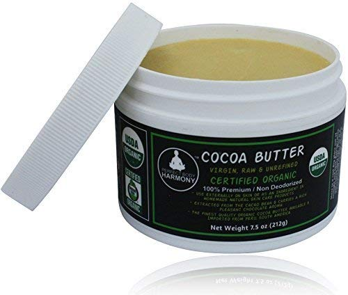 Real CERTIFIED Organic Cocoa Butter; BPA Free Jar; Premium Unrefined, Non-Deodorized, Extracted From The Cacao Bean ~ Rich Chocolate Aroma! Naturally Rich In Antioxidants! THE BEST! [7.5 oz JAR] (Perfect Body Harmony Shea Butter)