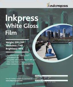 """Inkpress White Gloss Inkjet Film 17""""x22"""" 20 Sheets"""