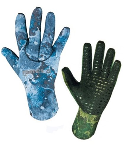 3mm Mares Camo Free Diving Spearfishing Gloves (Camo Blue, Large)