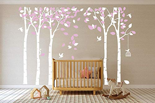 Birch Wall - MAFENT Giant Family Tree Wall Decals Forest Birch Tree Wall Stickers Birds Wall Art for Kids Room Nursery Bedroom Living Room Decoration (White,Pink)