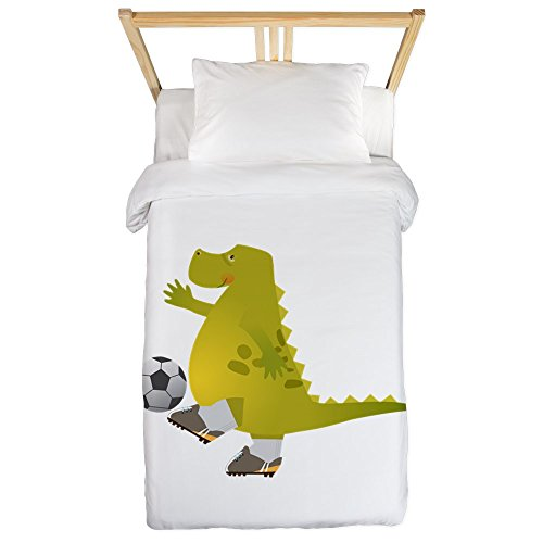 Twin Duvet Cover Dinosaur Playing Soccer by Truly Teague