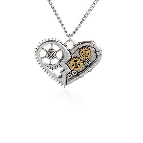 FidgetGear Steampunk Multi-Gear Watch Broken Heart Shaped Pendant Necklace for Unisex