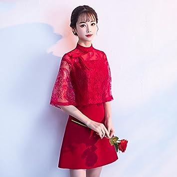 JKJHAH Vestidos Mujeres Vestidos Vestidos De Novia Rojos, Borgoña, S