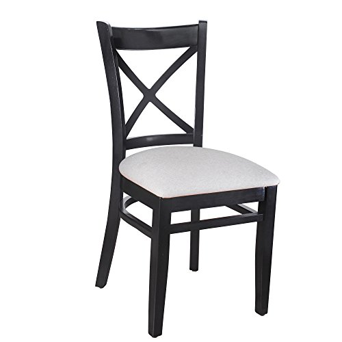 Beechwood Mountain BSD-106S-B Solid Beech Wood Side Chairs in Black for Kitchen Dining, Set of 2, NA