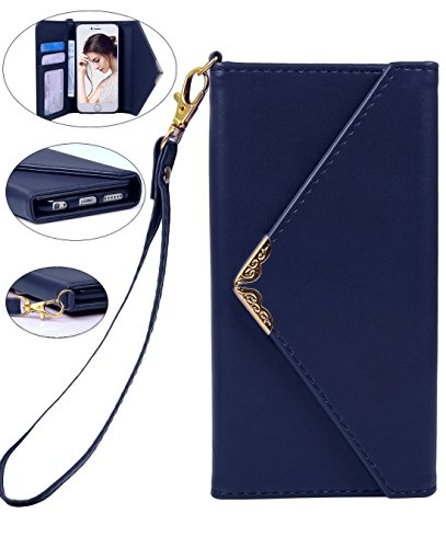 Iphone 6 Wallet Case, Crosspace iphone 6s Envelope Flip Handbag Shell Women Wallet PU Leather Magnetic Folio Cover Cases with Credit Card ID Holders Wrist Strap for Apple Iphone 6/6s 4.7inch-Blue (Retro Id Credit Card)