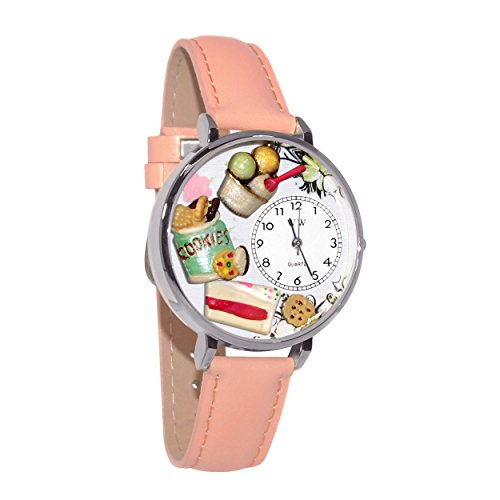 Whimsical Watches Women's U0310014 Unisex Silver Dessert Lover Pink Leather And Silvertone ()
